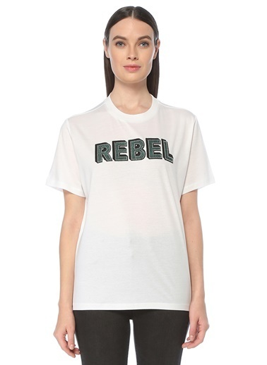 NetWork Kadın 1077362 Basic Fit Taşlı Slogan Nakışlı T-shirt Beyaz